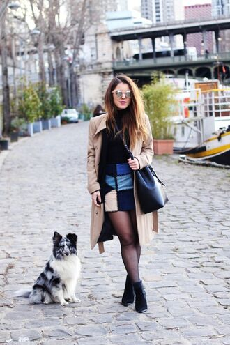 elodie in paris blogger sunglasses black bag black boots patchwork blue skirt mini skirt beige coat winter outfits fall outfits asos camel long coat