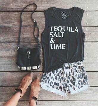 shirt black tequila tank top