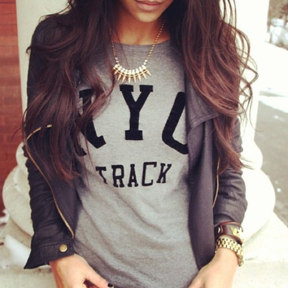 shirt grey t-shirt nyc t-shirt clothes jacket gold nyc track grey new york city black jacket cute outfit sweater grey, nyc track