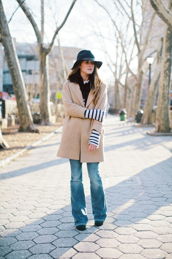 on the racks hat coat sweater jeans shoes