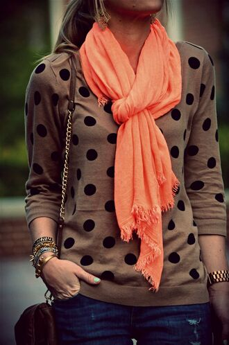 sweater clothes scarf coral bright fall outfits polka dots coral scarf skirt shirt beige polka dot sweater black polka dots 3/4 sleeves fall style