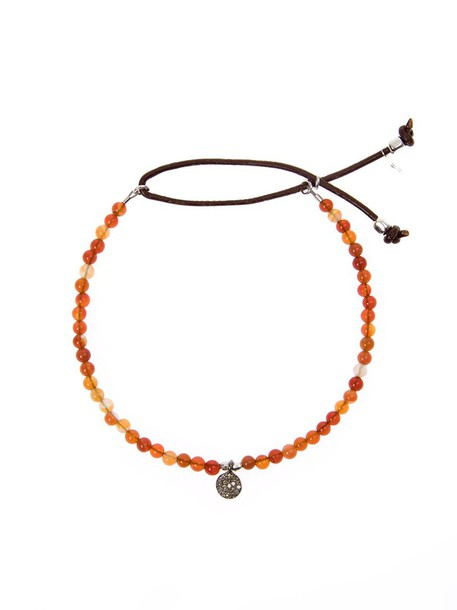 Catherine Michiels beaded bracelet women beaded silver leather yellow orange jewels