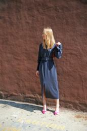 dress,tumblr,blue dress,long sleeves,long sleeve dress,midi dress,shoes,office outfits