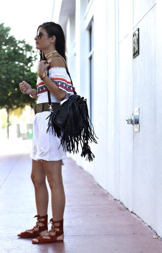 bag fringe backpack backpack black backpack fringes accessory romper embroidered white romper sandals flat sandals brown sandals gladiators summer outfits boho chic sunglasses belt off the shoulder