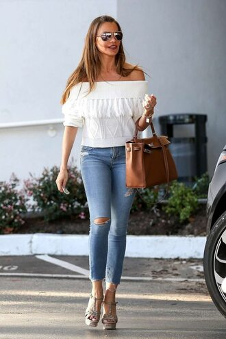 blouse off the shoulder off the shoulder top jeans sofia vergara streetstyle spring outfits