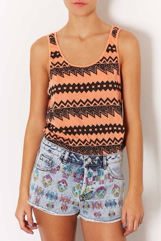 tank top tribal pattern coral black print pattern girly cute pretty nice outfit idea vintage retro pastel denim shorts color/pattern high waisted shorts summer spring spring outfits fashion casual aztec acid wash