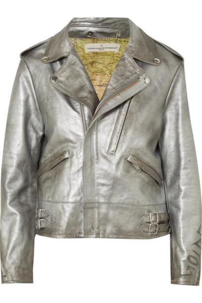 GOLDEN GOOSE DELUXE BRAND jacket biker jacket metallic silver leather