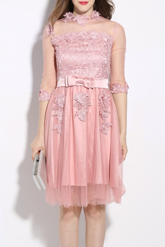 dress pink girly cute party prom bow lace dezzal