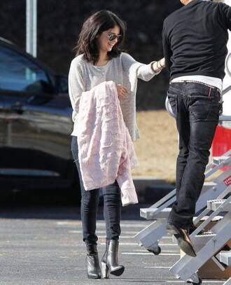 coat high heels sweater selena gomez sunglasses