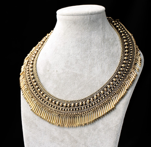 Fashion vintage bronze rivet bead chunky choker necklace wholesale