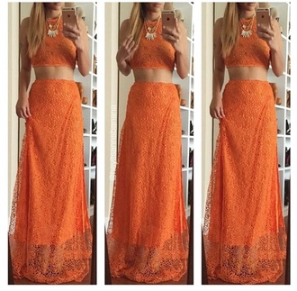 dress orange two-piece maxi dress lace dress lace dress set orange dress two piece dress set maxi skirt slit skirt slit maxi skirt 2 piece dress set
