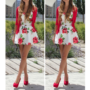 2015 new fashion casual women floral flowers print dress midi vintage red pink dress summer dress party dresses free shipping