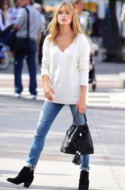 jeans denim sweater fall outfits fall sweater hailey baldwin ankle boots