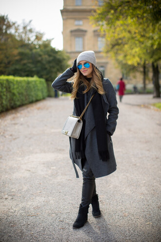gal meets glam blogger scarf bag mirrored sunglasses knitted beanie coat
