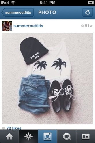 shirt palm tree print shorts shoes