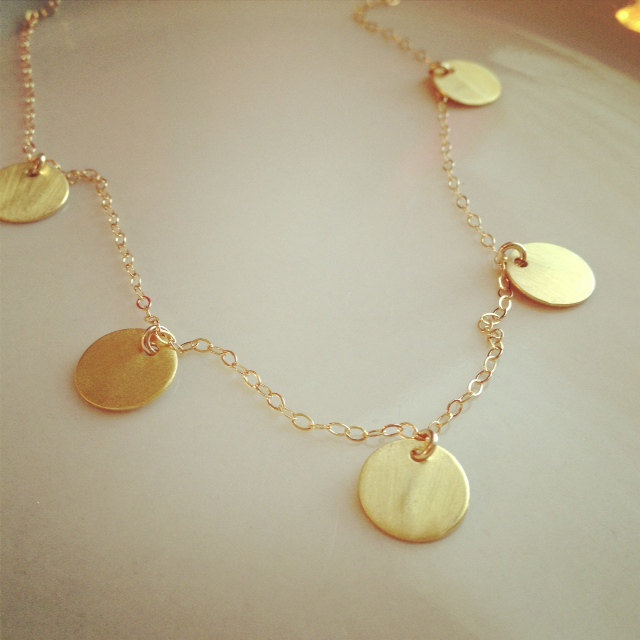 Gold Five Coins Necklace - Gold Discs Necklace - Celebrity Inspired Necklace - Everyday Wear