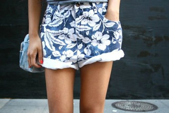 shorts high waisted short blue shorts clothes flower print shorts