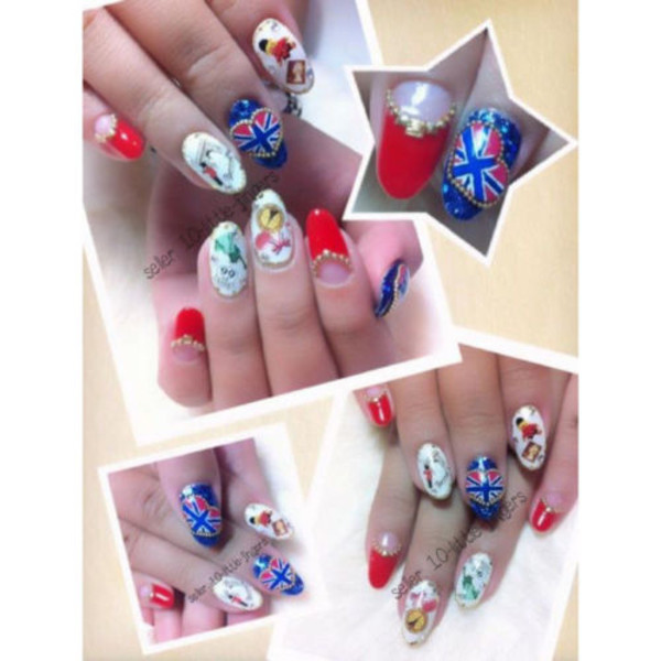 nail polish nails nail art decoration manicure pedicure london england stickers hot brand designer flag stripes stripes shorts