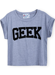 Grey Short Sleeve GEEK Print Crop T-Shirt - Sheinside.com