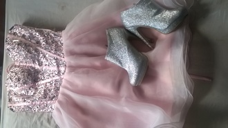dress prom dress shoes high heels pink pink dress girly sparkly sparkly shoes
