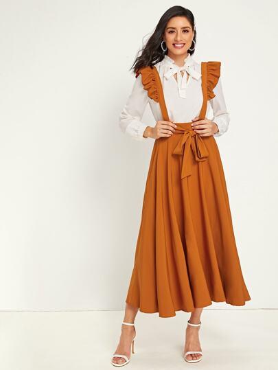 Ruffle Strap Tie Front Dress
