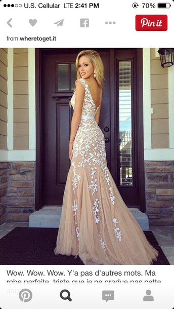 Dress: prom dress, prom dress, nude, long, tan and white dress ...