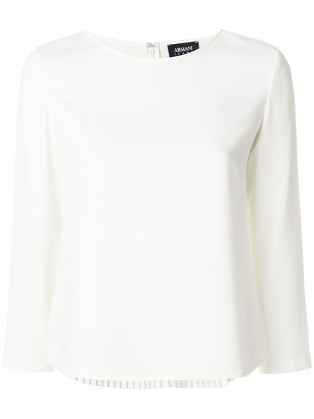 Armani Jeans - pleated blouse - women - Polyester - 44, White, Polyester