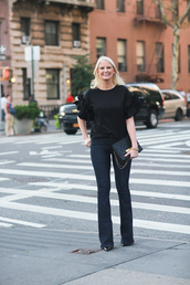 style archives | the style scribe,blogger,blouse,ruffle,black bag,skinny jeans,all black everything,work outfits,flare jeans,ruffled top,black top