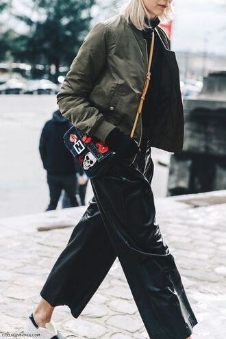 pants leather culottes black culottes culottes black pants leather pants jacket army green jacket bomber jacket bag embellished patched bag patch sneakers white sneakers streetstyle fall outfits