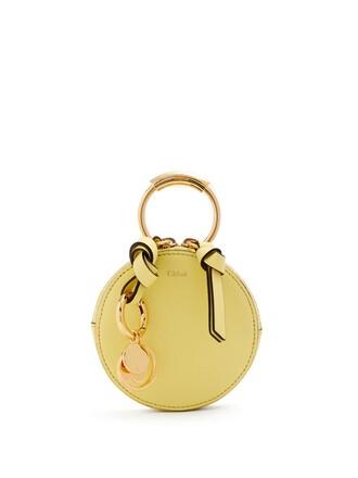 mini purse leather light yellow bag