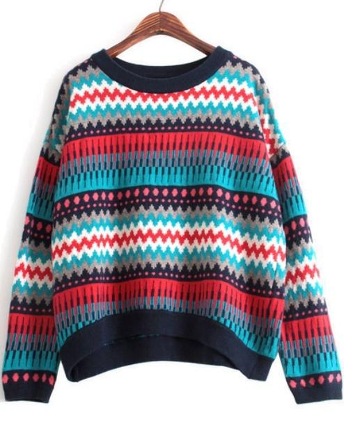 Multi Color Multi Pattern Knit Sweater