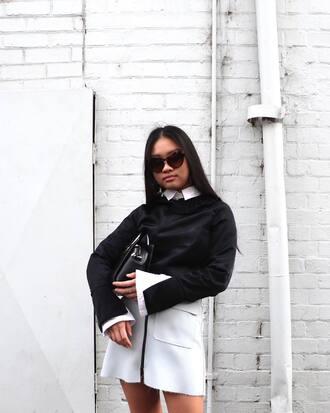 skirt black sweater tumblr mini skirt white skirt zip zipped skirt sweater sunglasses