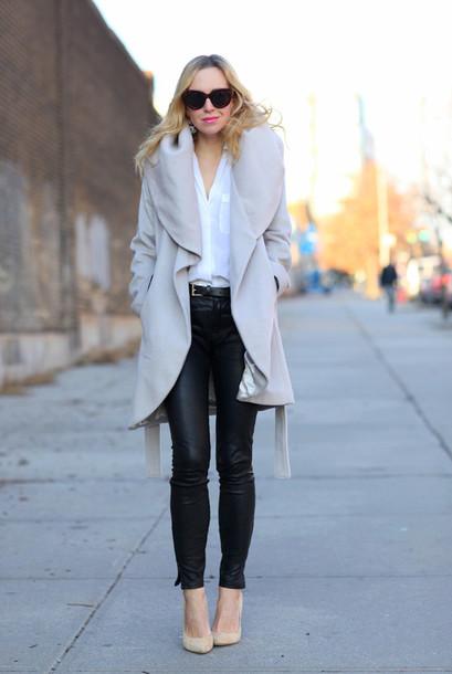 brooklyn blonde coat pants shoes bag sunglasses jewels