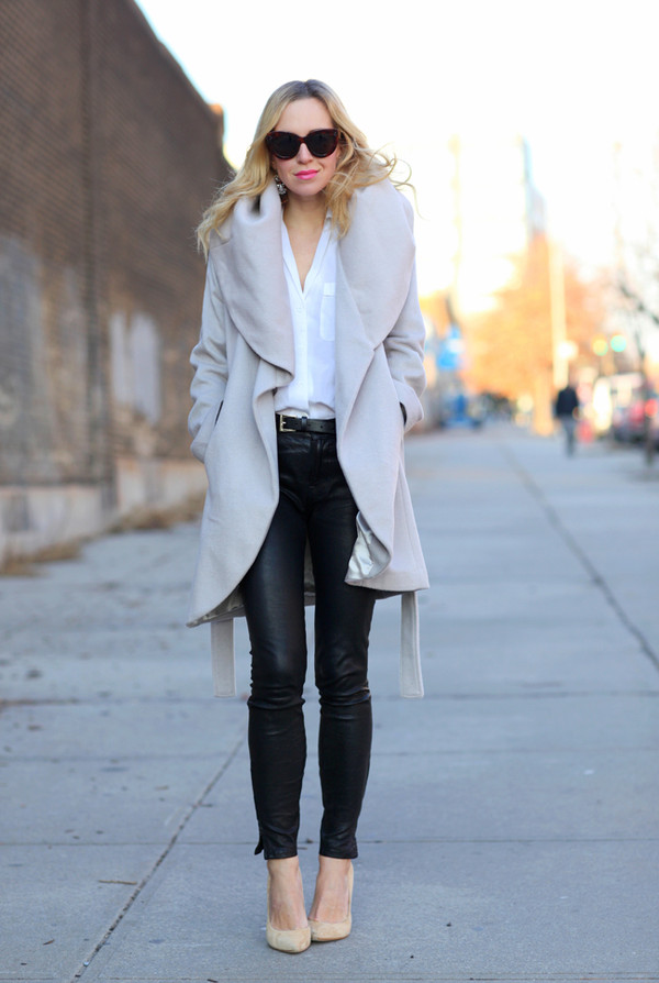 brooklyn blonde coat pants shoes bag sunglasses jewels