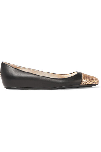 ballet embellished flats ballet flats leather black bronze shoes