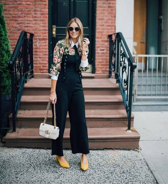 jumpsuit floral top tumblr black jumpsuit top floral shoes yellow bag white bag sunglasses