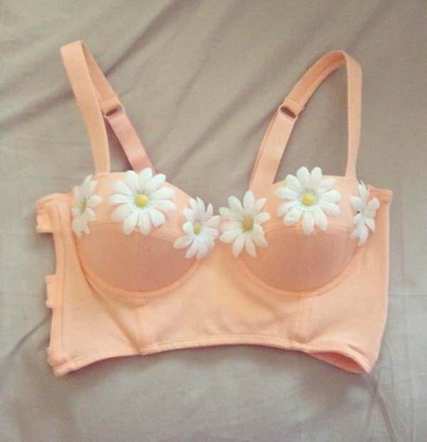 top bralette sunflower peach coral bralette crop