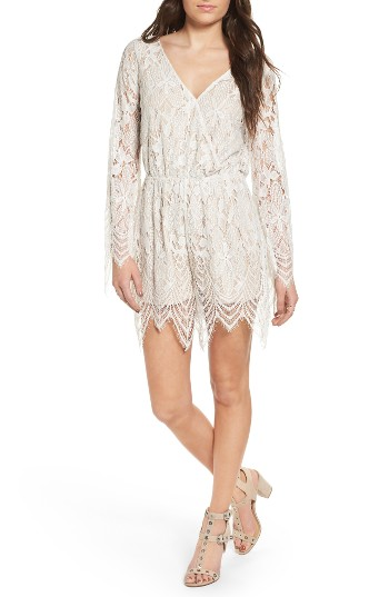 Fire Bell Sleeve Lace Romper | Nordstrom