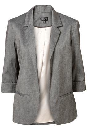 Grey 3/4 sleeve open blazer