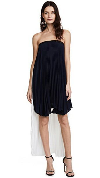 Loyd/Ford dress high low dress strapless high high low navy white