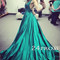 Simple v neck green long prom gown, evening dresses - 24prom