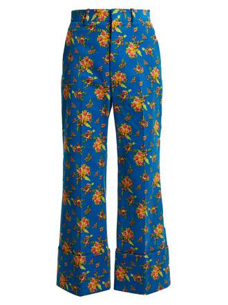 cropped floral print blue pants