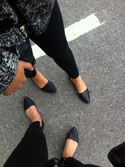 cardigan black shoes ballerina pointy