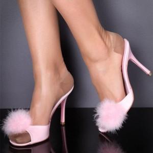 Pink Pom Pom Shoes Peep Toe Stiletto Heel Cute Mules