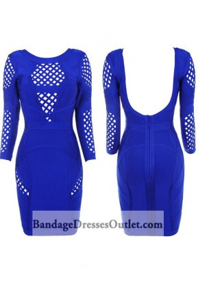 Blue Long Sleeve Backless Hollow Pattern Bandage Dress [Blue Long Sleeve Hollow] - $189.00 : Cheap Bandage Dresses Online, Wholesale Price Bandage Dresses Outlet