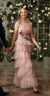 dress,gown,prom dress,ivanka trump,polka dots,ruffle,ruffle dress