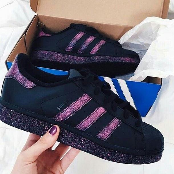 shoes adidas black purple glitter superstar