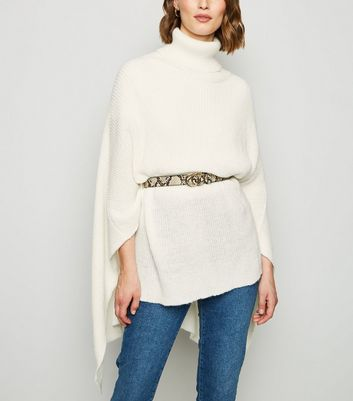 Cream Roll Neck Poncho | New Look