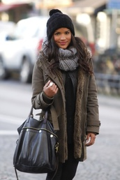 jacket,winter outfits,fall outfits,green,streetstyle,scarf,hat,fashion,clothes,coat,fur,khaki,stylish anorak