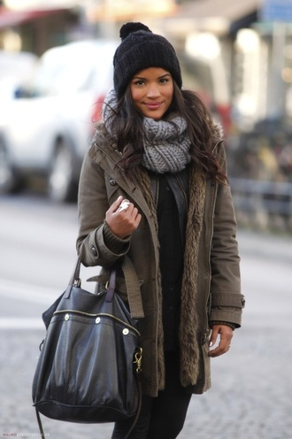 jacket winter outfits fall outfits green streetstyle scarf hat fashion clothes coat fur khaki